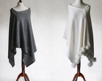 Pom pom poncho, cashmere poncho, women's poncho, knit poncho, cashmere sweater, women's sweater, pompoms sweater, knit cape, wool poncho
