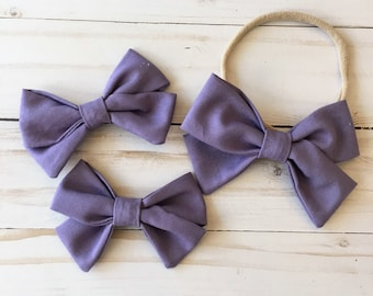 Purple Thistle Fabric Hair bows/ Pigtail Sets/ Nylon Headband