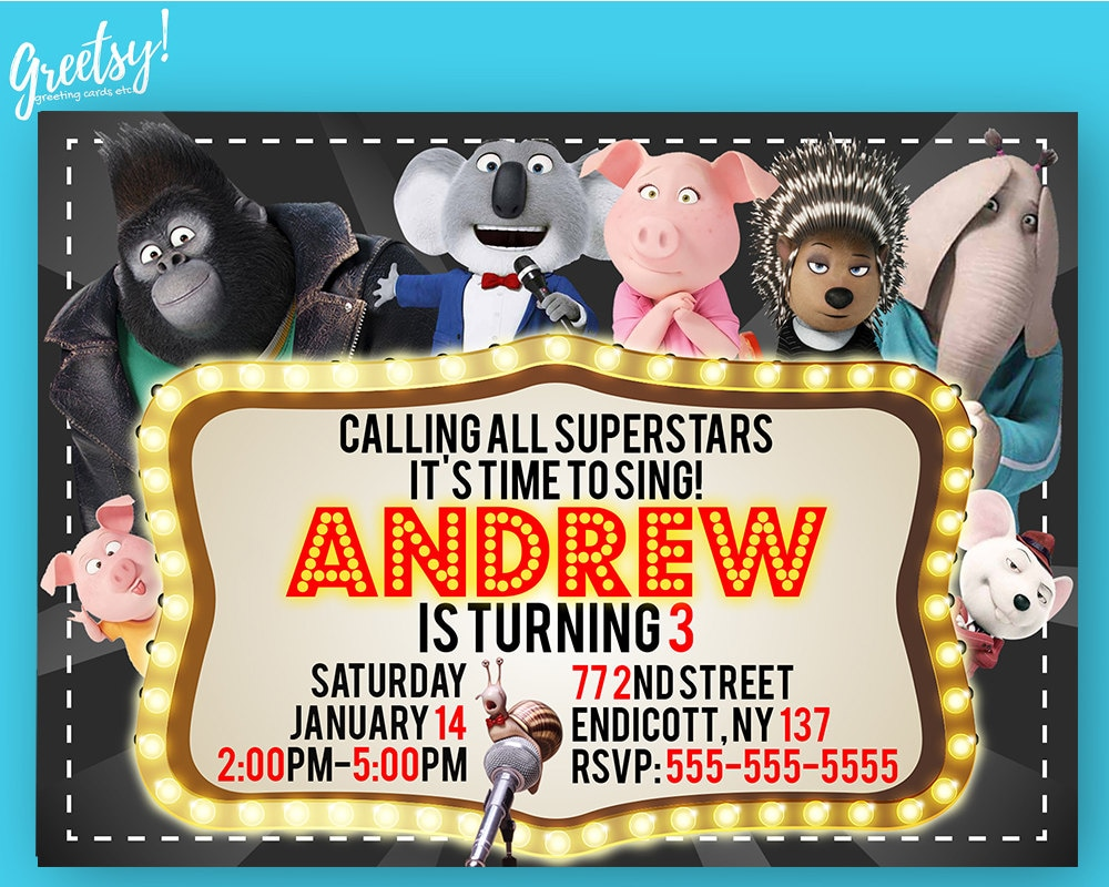 Sing invitation sing birthday sing party sing invites sing zoom bookmarktalkfo Images