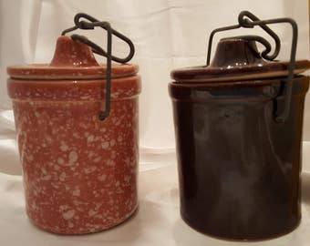 Cheese Crocks, Vintage Glazed Pottery, Wire Bail Closure, Speckled Caramel Color Crock by Reco USA, Dark Brown Crock, Set of 2 with Lids