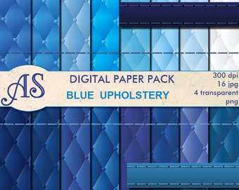 Digital Blue Upholstery Paper Pack, 16 upholstery Scrapbooking papers and 4 Borders, padding Digital Collage, Instant Download, set 352