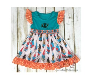 SALE! Ready To Ship! Boutique Girls / Baby Fall Feather Dress