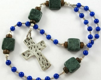 Handmade Anglican Rosary in Green Marble and Bright Blue