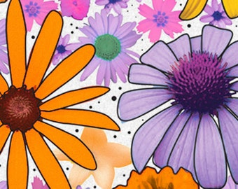 """Summer Flower Power Floral Tissue Paper  # 227 -- 10 Large Sheets - 20"""" x 30"""""""
