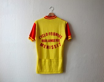 Vintage Cycling jersey / french team / yellow and red Cycling T-shirt