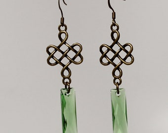 Long Celtic knot earrings with Swarovski crystals (Fern Green)