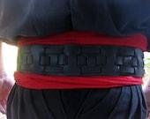3 Inch Black Leather Weav...