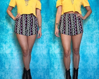 Black & Hot Pink Aztec Stripe High Waisted Shorts