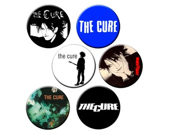 "6 Cure Badges - Pack of 6 Small 1.25"" Pin Back Buttons - The Cure - Robert Smith  - 6 Small Pins"