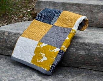 """Woodland quilt  """" grey, navy, white, mustard, gold"""""""