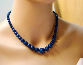 Lapis necklace etsy sale blue lapis lazuli necklace natural lapis necklace descending necklace dark blue stone mozeypictures Images