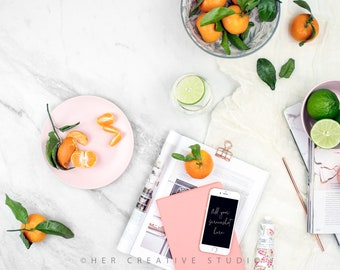 Styled Stock Photography | Flatlay Image | Hydrangea, iPhone with Desk Accessories 3 | Styled Photography | Digital Image