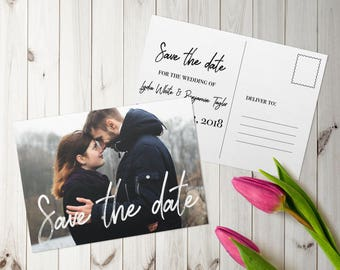 Handwritten Personalised Printed Photo Save The Date Postcard