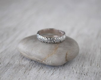 Sterling Silver Band -  Sterling Silver Floral Pattern Band - Handforged Silver Ring - Silver Ring - Wedding Band