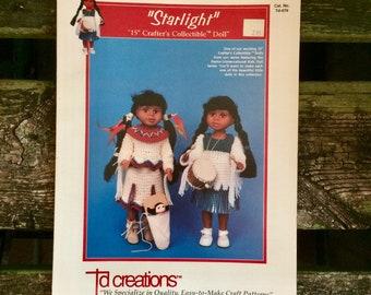 TD Creations Starlight Native American 15 inch doll clothing crochet pattern, vintage doll clothing crochet pattern, vintage crochet pattern