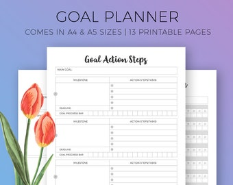 Goal Planner Printable, Goal Setting, Goal Digger, Goal Tracker, Habit Tracker, Daily Planner, Success Rituals, Productivity Goals, A4, A5