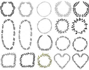 Laurel Wreath Frame Clip Art, Digital Stamps, PNG Images & Brush, Logo ClipArt Graphic, Circle Border, Hand Embroidery Pattern