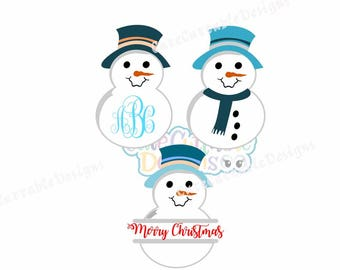 Snowman svg Monogram Frame svg, Split frame, snowman iron on printable PNG. SVG, DXF, Eps, cut file, santa hat svg, snowman cut file
