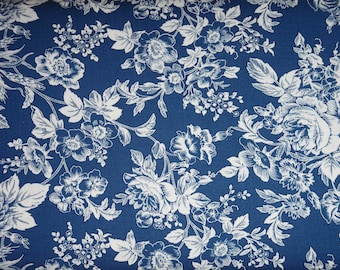 Marcus Gallery in Blue Large Blue and White Floral Fabric R14-0268-0122 BTY