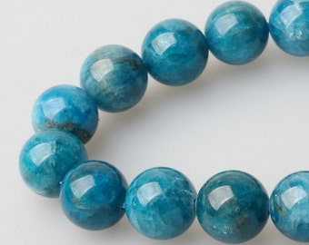 Natural Blue Apatite Beads - 15'' Full Strand Apatite Gemstone and Healing Beads Supplies - Genuine Natural Stone bead - 5mm 6mm 8mm 10mm