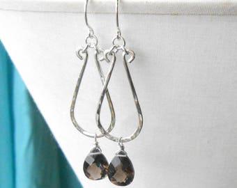 Smokey Quartz Earrings, Hammered Sterling Silver Dangle Earrings