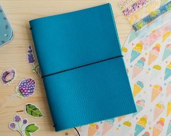 Cuaderno de cuero hecho a mano, estilo Midori Traveler's Notebook tamaño Passport / Pocket / A6 - Aguamarina