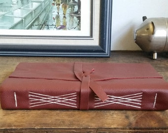 Large Leather Journal, Burgundy Hand-Bound 6 x 9 Journal by The Orange Windmill on Etsy 1721