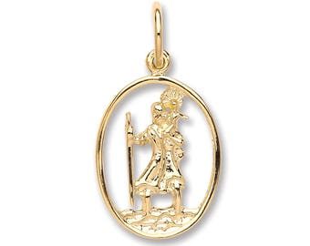 9ct Gold Cut Out Oval St Christopher Medallion Charm Pendant 15x12mm