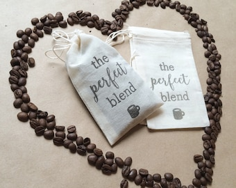 The Perfect Blend - 50 Coffee Favor Bags - Muslin Bags