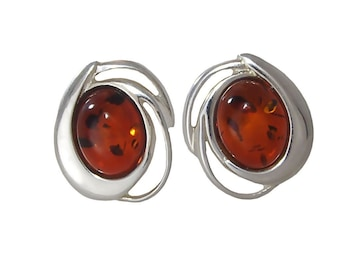 """Sterling Silver and Baltic Honey Amber Earrings """"Marcelina"""""""