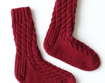 Hand-knitted Wool Socks MULLED WINE By VidaFelt - Size 37-39 - Free Shipping!