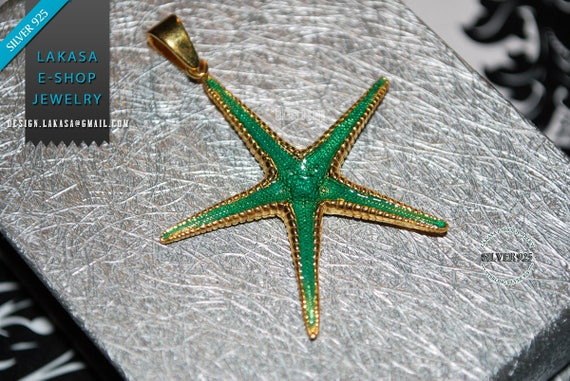 Sea Star Sterling Silver Gold plated Pendant Jewelry Love Woman Unisex Men Marine Hope Freedom Beautiful Sea Summer Greece Seestern Starfish