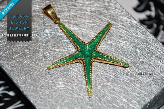 Sea Star Sterling Silver Gold plated Pendant Jewelry Love Woman Unisex Men Marine Hope Freedom Beautiful Sea Summer Greece Seestern Starfish