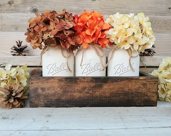 Fall Table Centerpiece,Fall Decor,Seasonal,Thanksgiving Table Decor,Mantle Decor,Rustic Planter With Jars,Mason Jar Centerpiece box,Country