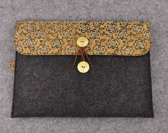 Macbook 13 inch Sleeve, Macbook Pro Case, Macbook Air Case, 13 inch Laptop case, Floral Felt Cork, Laptop Sleeve, Christmas gift, B2F261