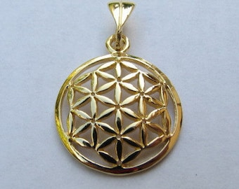 14K Gold Flower of Life Pendant Original Sacred Geometry Jewelry, 14K Solid Yellow Gold Flower of Life Charm