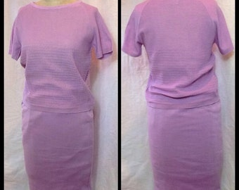 Lovely Vintage classic 1960's Lavender Cotton knit two piece skirt suit/Jackie O/Mad Men/NWT/knitwear
