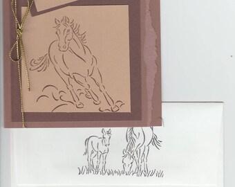Running Horse Blank Greeting Card Handmade Note