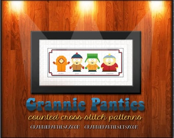 PDF Counted Cross Stitch Pattern - South Park Kenny Kyle Stan & Cartman 10 inches wide - Handmade Supply Crafty Decor Parody Pop Culture YES