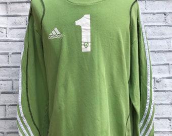 Adidas Vintage Sweater/sweatershirt Lime Green 3 Stripe - Medium