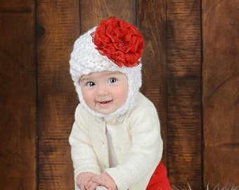 Pretty Pixie Lace Hat - Baby Girl Winter Hat - Baby Hat - Trapper Hat - Baby - Lace Hat - Newborn Winter Hat - Newborn Photo Prop - Lace