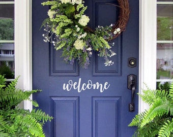 Welcome Vinyl Decal/ Welcome Door Decal/ Vinyl Decal for your Front Door/ Welcome Vinyl Lettering/ Entry Way or Porch Decal/ FREE SHIPPING