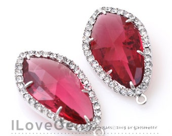 NP-1487 Rhodium plated, Ruby, Glass, Pendant, 2pcs