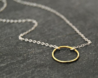 choate / petite... mixed metal eternity circle necklace / 14k gold filled circle & sterling silver chain necklace / infinity / love / karma