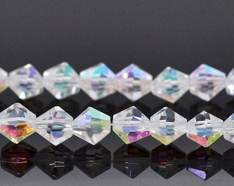 Set of 10 beads Bicone crystal glass 6x6mm