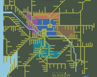 Rail Network, Glasgow and West. Large Giclee print.