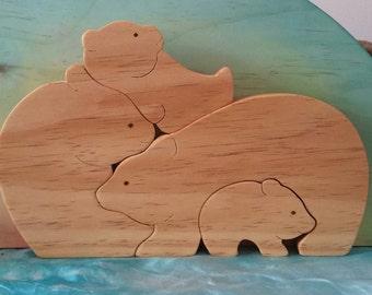 Bear Family Natural Wooden Puzzle Waldorf