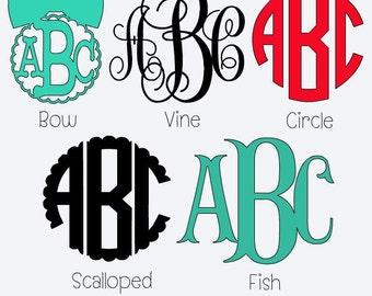 Vinyl Monogram Decal, Yeti Cup Decal, Tumbler Monogram Decal, Car Monogram Decal, Bow Monogram, Monogram Sticker, Circle Monogram