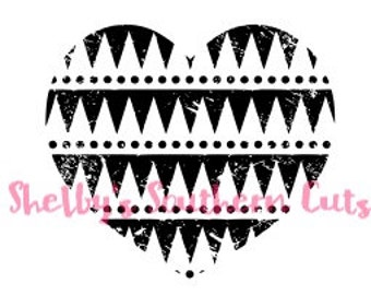 Distressed Aztec Heart SVG file