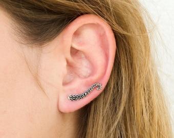 Octopus Ear Climber Earrings Sterling Silver 925 Ear Cuff Earrings Boho Jewelry Tentacle Ear Crawler  - FES001